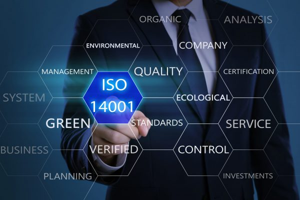 Businessman pointing at virtual icon with text ISO 14001 on color background, closeup