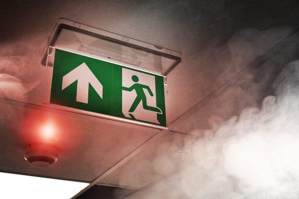Smoke alarm in a modern office building